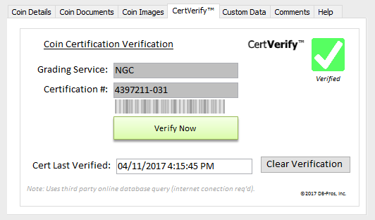 Coin Catalog Pro ™ - CertVerify™ verification of your graded coins